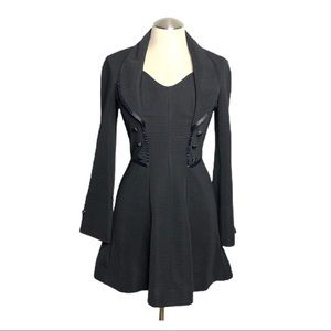 Vintage 90s dark academia black dress xs small